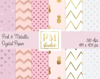 Digital Papers Kit // 6 pack Pink Gold & Pearl digital papers // Digital Goodies // Scrapbook background // Digital download
