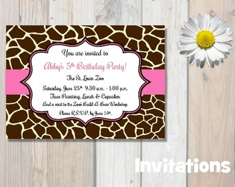 Giraffe Print Invitations, Birthday Invitations, Pink, Party Invitations, Zoo Party Invitations, Safari Invitations, Printable Invites