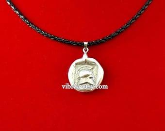 Spartan Helmet Ancient Coin Necklace Pendant
