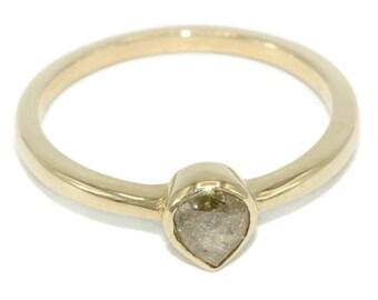 salt pepper diamond ring natural yellow diamond engagement ring pear shape diamond ring - Yellow Diamond Wedding Ring