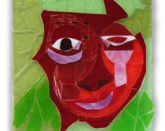 """A glass mosaic work of art titled """"Emotions"""", consisting of four parts, each depicting an emotion."""