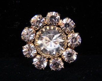 Style # 14051G Large Rhinestone Rosette Button - Gold Plated