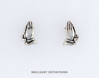 925 Sterling Silver Praying Hands Design Post or Stud Earrings, Religious Jewelry - BI-627