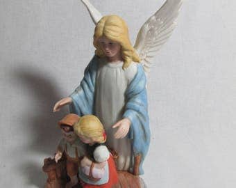 Homco guardian angel with children on the bridge figurine #8772 1995, 8 inches tall