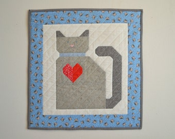 Mini Cat Quilt in Blue and Gray