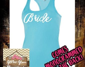 Bride-Bridesmaid Racerback Tank Top With Monogram-Bride Tank-Bridal Gift-Personalized-Personalized Bridesmaid Tank Top-Monogram Tank Top