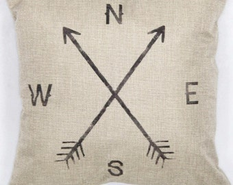 Burlap Arrow North South East West Pillow Cover