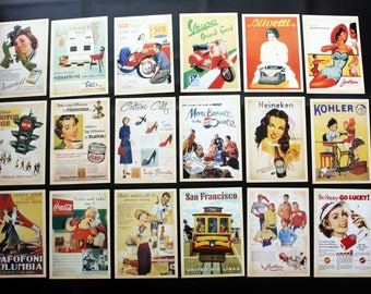 USA 1950's Commercial Advertising Poster Postcard Set of 32 cards