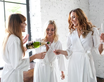 Ivory Bridesmaid Robes SET OF 3, 5, 6, 10/ Bridesmaid & Brides Dressing Gown/ Ivory SPA Robes/ Bridal Party Robes, White Bridesmaid Kimonos