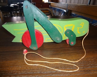 Vintage wooden pull Toy, George The Grasshopper