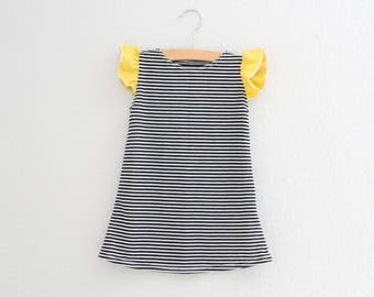 Girls Ruffle Dress - Black Stripe Ruffle Sleeve Dress, Flutter Sleeve Dress, Baby Dress, Girls Dress, Black Dress, Birthday Dress, Toddler