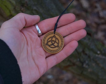 Ancient Celtic Triquetra Knot Amulet Solid Birch Carved and Burnt Wood Pendant