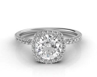 Halo Engagement Ring, Moissanite Engagement Ring, 1 Carat Forever One Moissanite, Natural Diamonds, White Gold, Rose Gold, Yellow Gold,