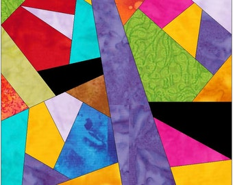 Complex Crazy Patch 18 Paper Foundation Piece Quilting Block Pattern PDF