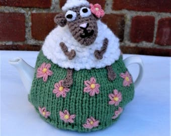 Hand Knitted Sheep Tea Cosy 1 - 2 Cup Small