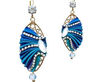 Blue silk Shibori - high jewel earrings fantasy