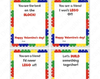 Printable Valentine cards, Lego Valentine's Day Cards.