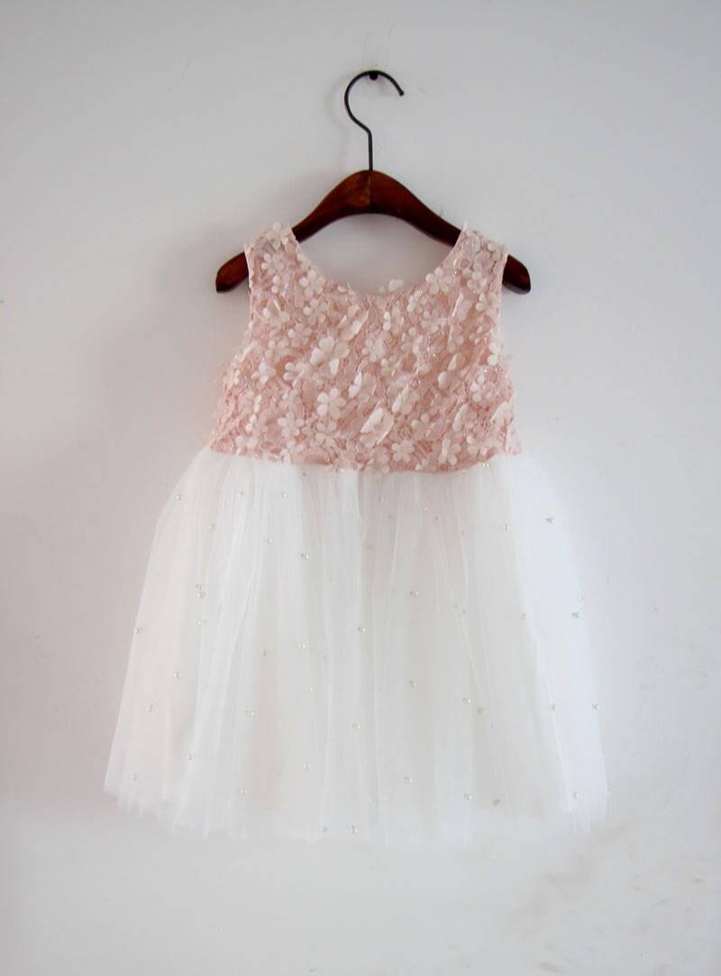 Blush Pink Rustic Girls Dresssophia Dress Rustic Flower Girl