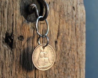 80th Birthday Gift / 1937 Vintage Penny / Special occasions / Handmade Key Ring / Key Chain / Vintage Coin /Lucky Penny /Milestones Birthday