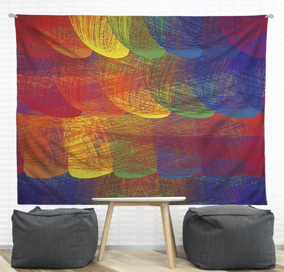 Wall Tapestry Home Decor : Rainbow patch hanging wall tapestry home decor dorm