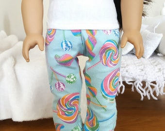18 inch doll pajama pants | lollipop print pants