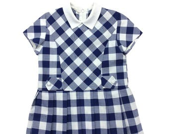 Vintage French navy & white checked collar dress age 2-3