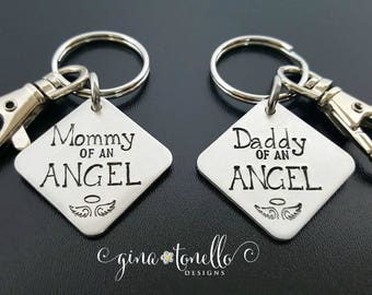 Miscarriage Gift, Infant Loss Gifts, Mommy of an Angel Keyring, Daddy of an Angel Keychain, Child Loss, Loss of Baby, Sympathy Gift for Men