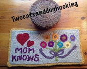 On reserve for Billie - special order custom rug hooking kit - flowers and hearts - wool and pattern
