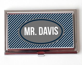 Personalized Business Card Case for Men - Stocking Stuffer for Him