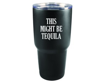 Powder Coated Tumbler - Black Stainless Steel - Tequila