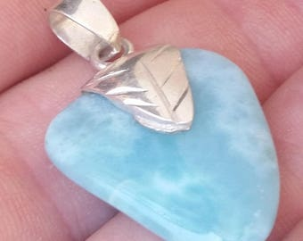 great blue  jewelry larimar 925 sterling silver  PENDANT AAA-5