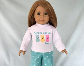 Easter Peeps Pajamas and Optional Slippers for American Girl/18 inch doll