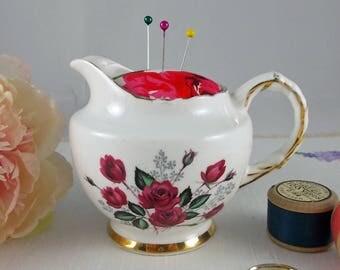 Vintage China Milk Jug Pin Cushion - pincushion, sewing organiser, sewing accessory, gift for sewer, gift for mum, vintage pin cushion