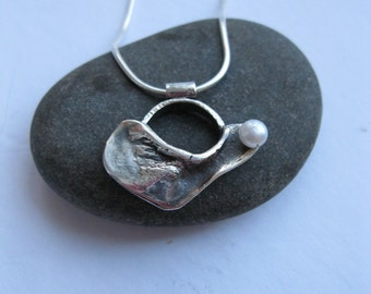 Organic silver pendant with sterling silver chain, contempory jewelry