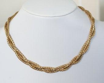 c1950s Vintage 12k Gold GF Mid Twisted Rope Snakel Necklace Hallmarks
