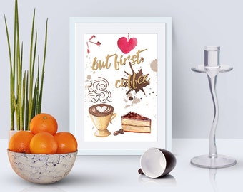 Watercolor card coffee 4x6 printable card instant download, motivational prints, digital cards, watercolor digital postcards, I love coffee