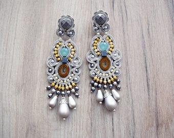 Beautiful soutache stud earrings - fashion soutache earrings with swarovski crystals
