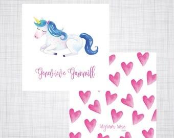 Unicorn Gift Tag. Unicorn Enclosure Card. Unicorn Gift Card. Girls Enclosure Card. Girls Calling Card. Watercolor.
