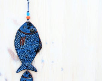 Fish Ornament, Ceramic Fish, Blue Fish, Wall Decor, Ceramic Beach Decor, Beach Decor, Beach Art Gift, Wall Hanging Decor, Decorative fish