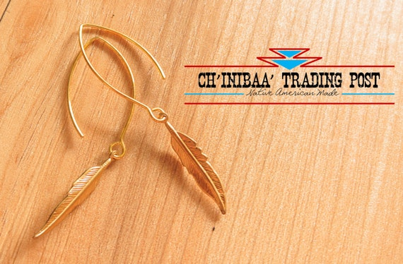 Gold Marquise Dangle Native Feather Earrings by SommerNani