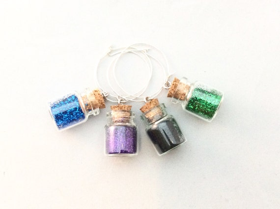 Peacock Glitter Wine Charms. Purple, Black, Green, Blue.  (set of 4)