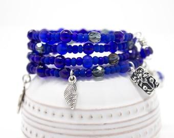 Cobalt Blue Charm Bracelet, Deep Blue Memory Wire Bracelet, Unique Bracelet, Cat Charm, Eclectic Charm Bracelet