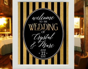 "16""x20"" Welcome Wedding Poster  - Black, White & Gold Striped Victorian Style Wedding Sign -  Personalized (UNFRAMED) - Victorian Classic"