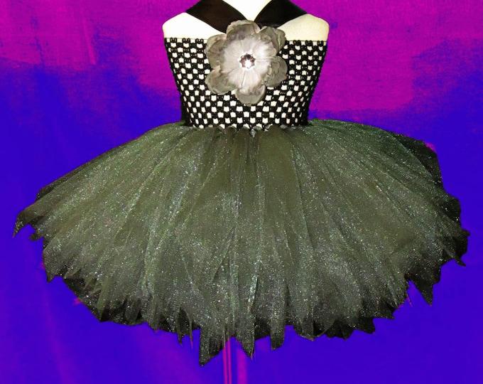 Women's Gunmetal and Black Tulle Dress