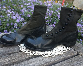 Vintage Small Woman/Child's Button up Shoes circa 1900's/Roberts,Johnson&Rand Shoe Co/Costume/Halloween