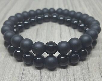 Couples Bracelets. Long Distance Bracelets. Friendship Bracelets. Matching Bracelet Set. Matte Black Glass and Black Glass Beads.