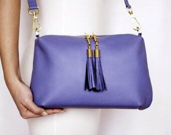 Free shipping! Blue leather bag, blue bag, leather shoulder bag, blue crossbody, blue leather purse, blue bag, blue purse