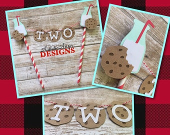Milk and Cookies Birthday Age Cake Bunting Topper - Smash Cake - Milk & Cookies Party - Santa Cookies - Red White Brown Turquoise