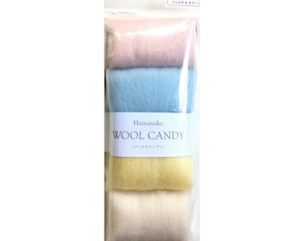 Hamanaka Wool Candy Felt Wool Series- 4 Colour Set- Pastel. Japanese Felting Wool Roving.