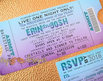 Concert Ticket Invitation / Wedding Ticket Invite / Concert Ticket wedding invitation
